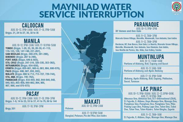 Maynilad water interruption schedule August 2015